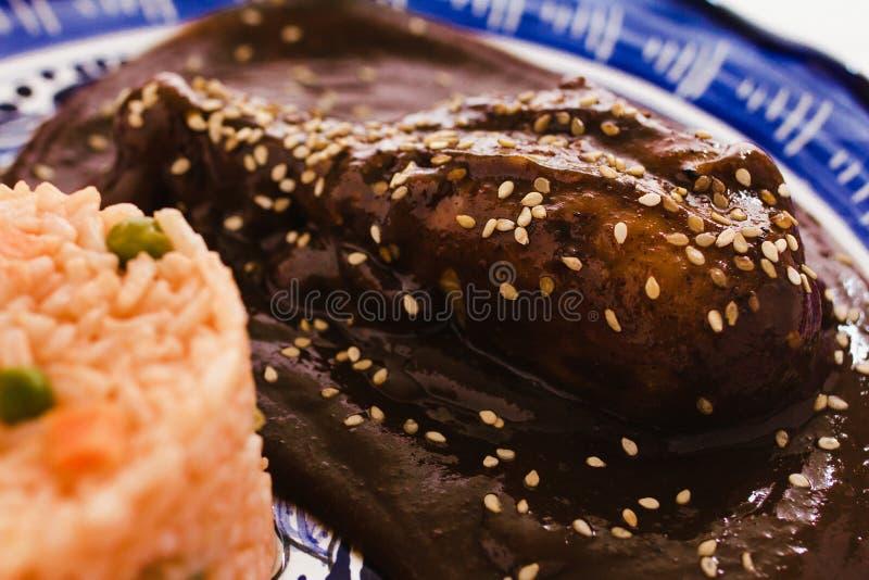 O Poblano da toupeira com galinha e arroz é alimento mexicano em Puebla México fotos de stock