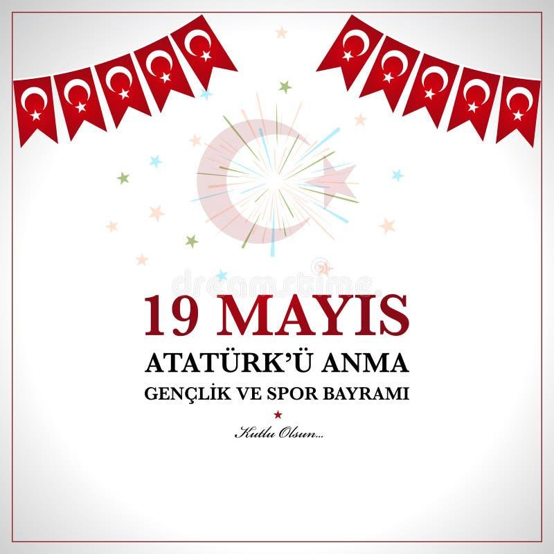 o 19o pode comemoração de Ataturk, juventude e ostenta o dia ilustração do vetor