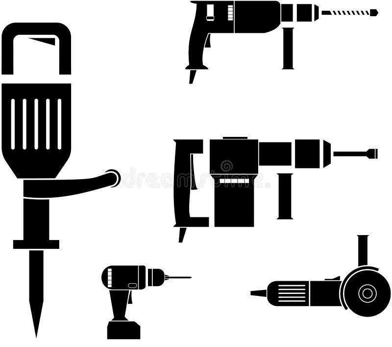 O poder da imagem do vetor utiliza ferramentas o martelo giratório, o jackhammer, o moedor de ângulo e a broca sem corda ilustração stock