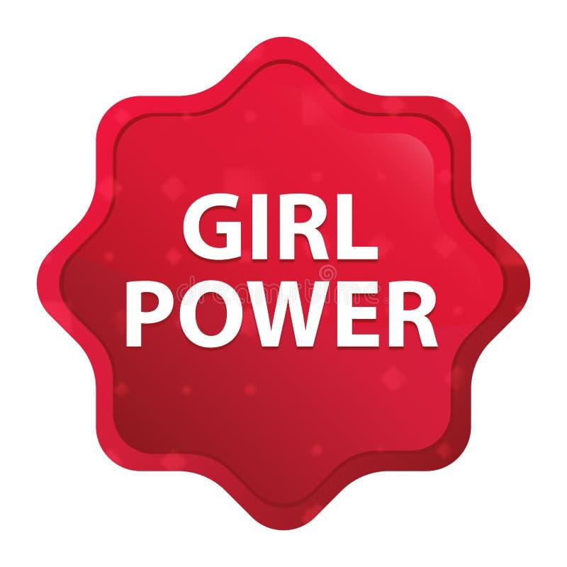 O poder da menina enevoado aumentou botão vermelho da etiqueta do starburst ilustração royalty free