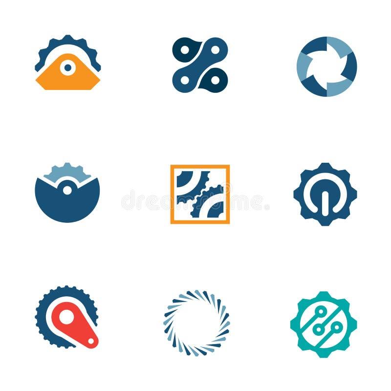 O poder da roda rouba os ícones industriais do logotipo da peça da máquina ajustados ilustração stock