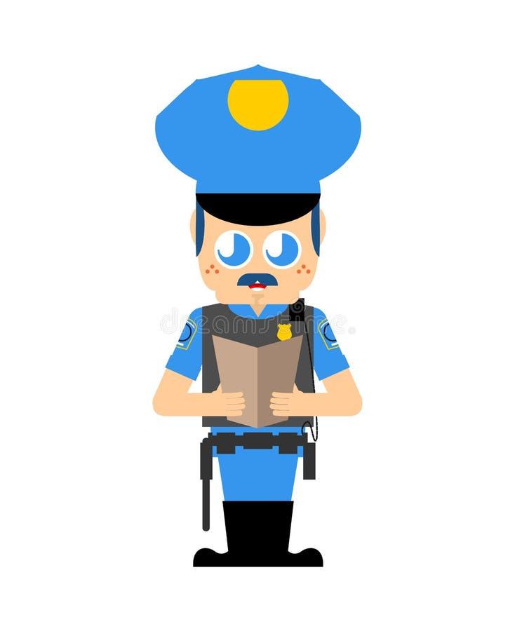 O polícia bonito do kawaii isolou-se estilo engraçado dos desenhos animados do agente da polícia Caráter das crianças da bobina O ilustração do vetor