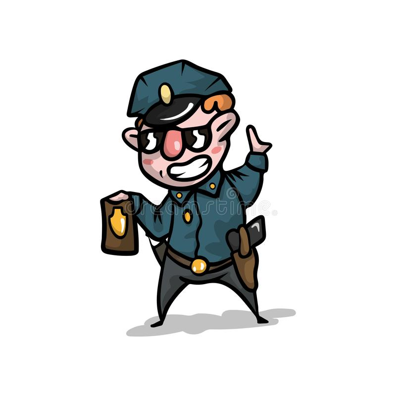 O polícia fresco bonito no uniforme e o tampão mostram seu crachá da polícia ilustração royalty free