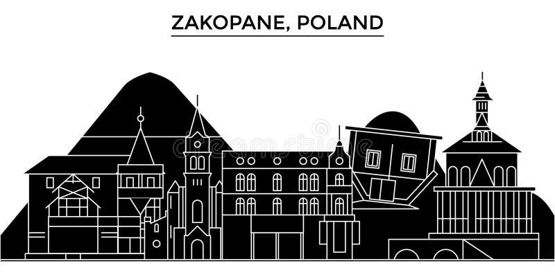 O Polônia, skyline da cidade do vetor da arquitetura de Zakopane, arquitetura da cidade do curso com marcos, construções, isolou  ilustração do vetor