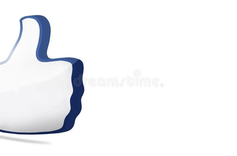 O polegar grande como o ícone 3D rende ilustração do vetor