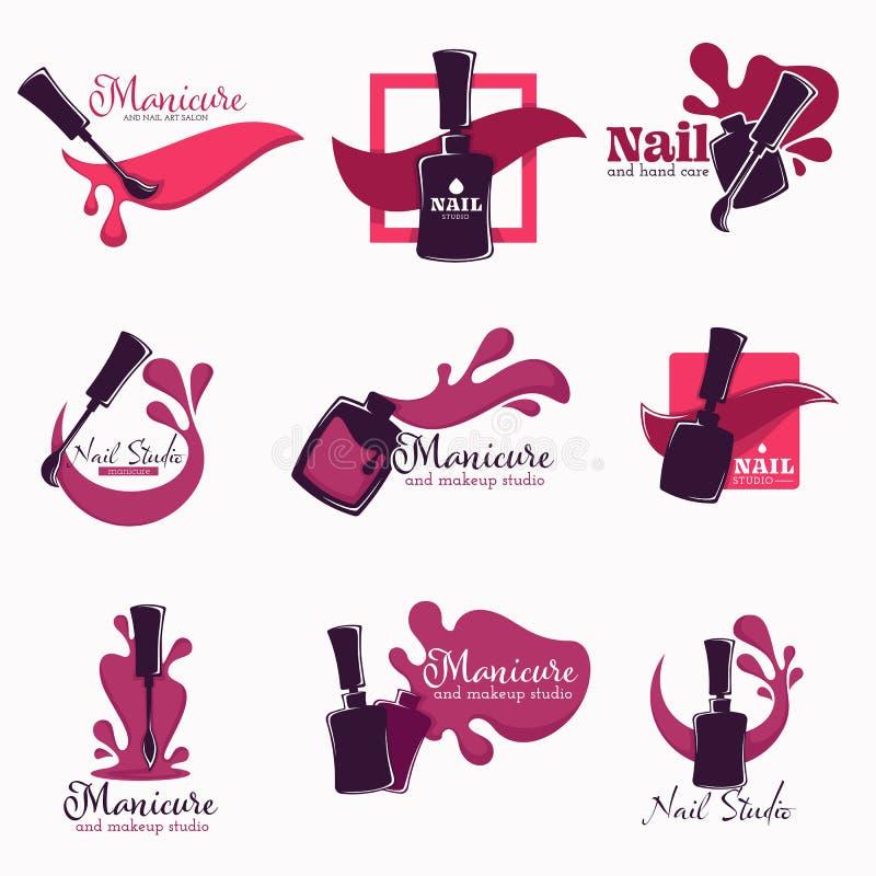 O polimento ou o verniz do estúdio do tratamento de mãos e do prego na garrafa isolaram ícones ilustração do vetor