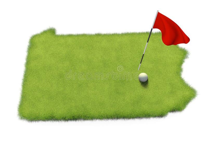 O polo da bola de golfe e de bandeira no verde de colocação do curso deu forma como o estado de Pensilvânia ilustração stock