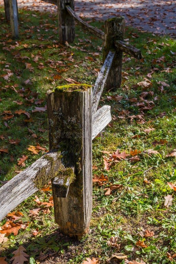 O polo de madeira de uma cerca completamente do musgo verde perto do concreto, Washington, EUA imagens de stock royalty free