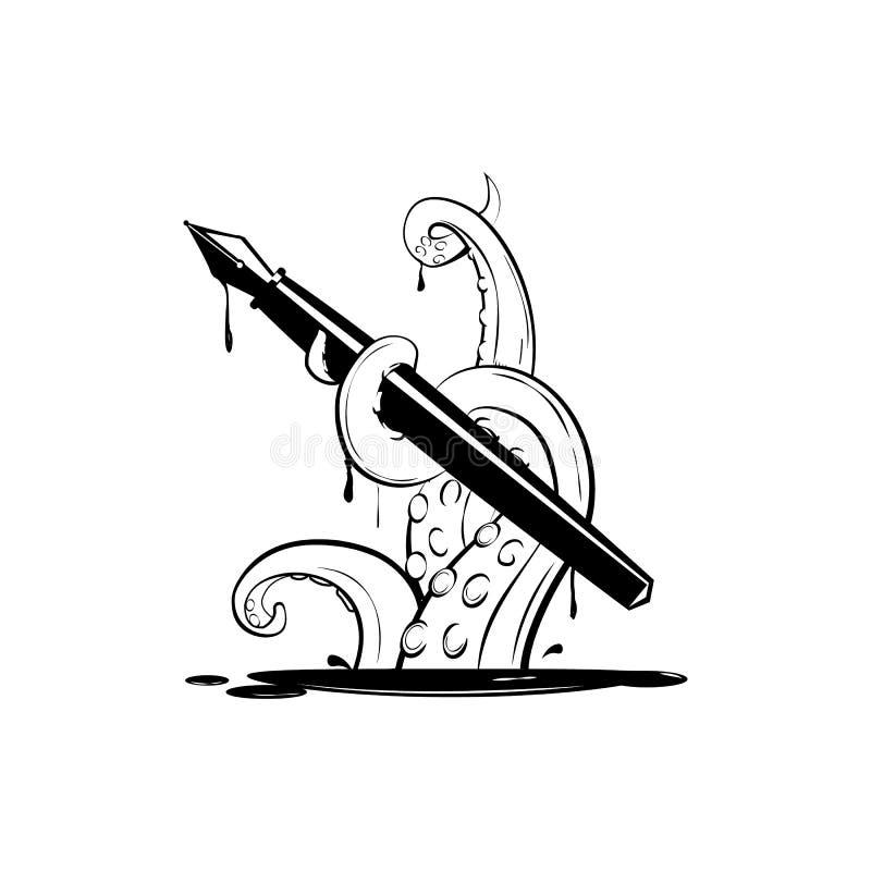 O polvo gigante com pena da tinta, mostra em silhueta simples ilustração royalty free
