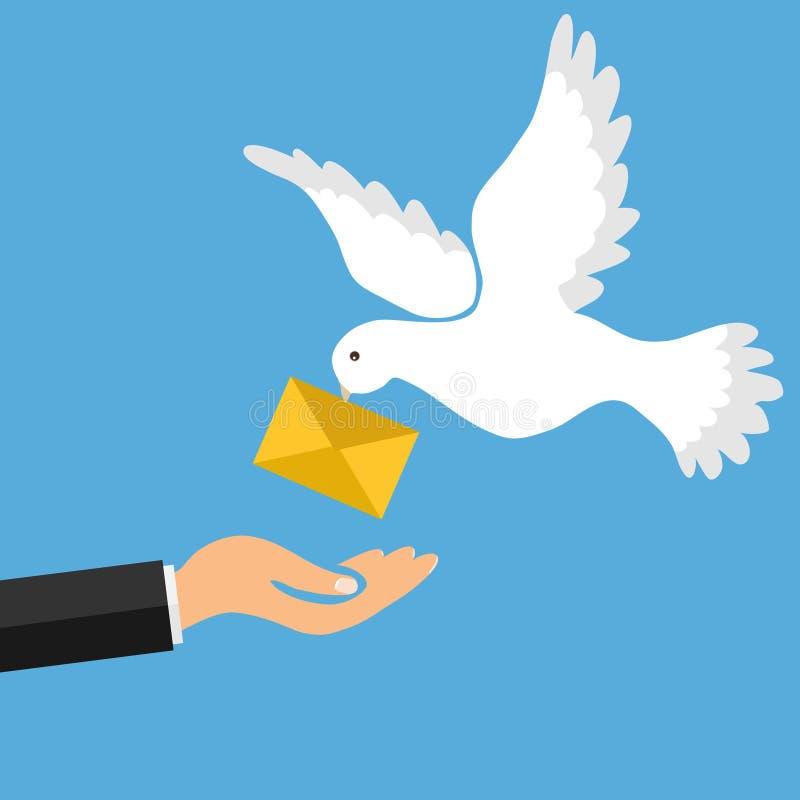 O pombo do correio traz uma letra Golub trouxe a letra na mão do ` s do homem O conceito de receber o correio ilustração royalty free