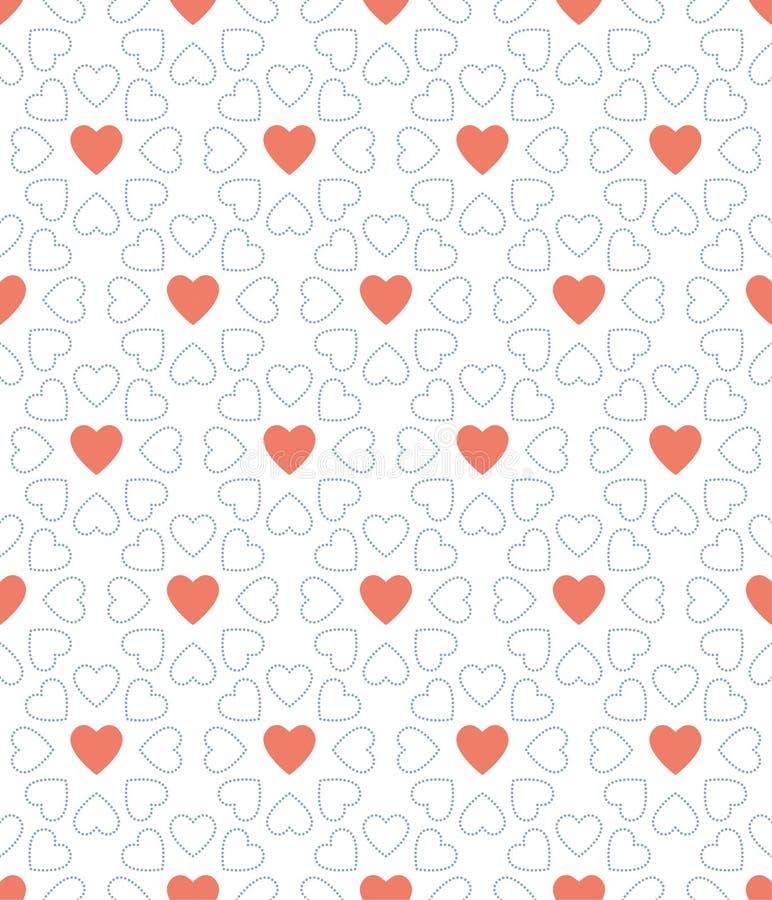 O ponto azul e o dia de são valentim vermelho do coração modelam o fundo fotos de stock