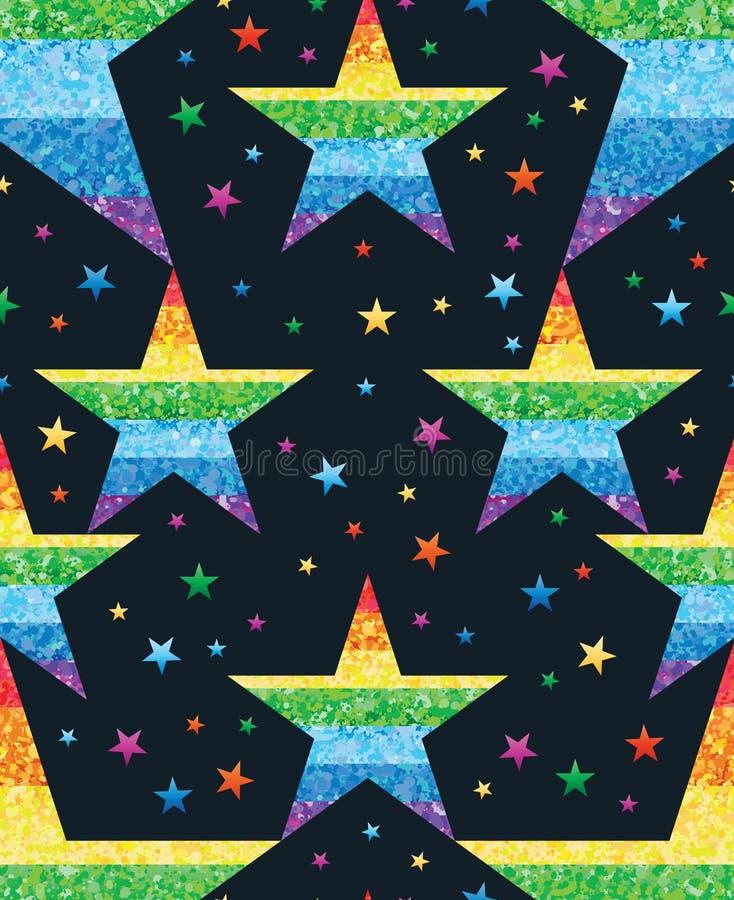 O ponto da estrela conecta o teste padrão sem emenda do brilho do arco-íris ilustração do vetor