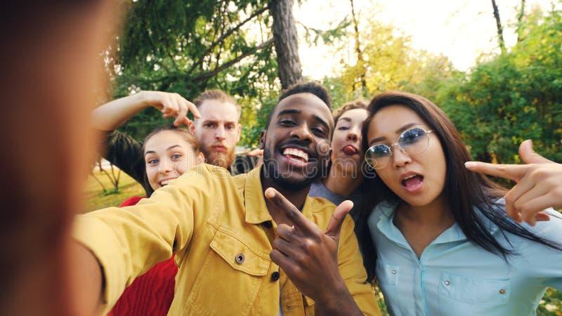 O ponto de vista disparou dos amigos que tomam o selfie no parque que olha a câmera, fazendo as caras engraçadas e rindo tendo o  foto de stock royalty free