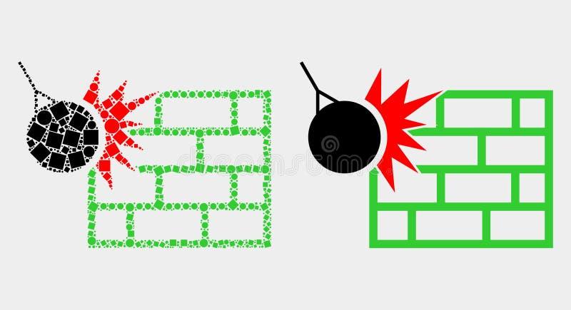 O ponto e o vetor liso esmagam o ícone da parede ilustração do vetor