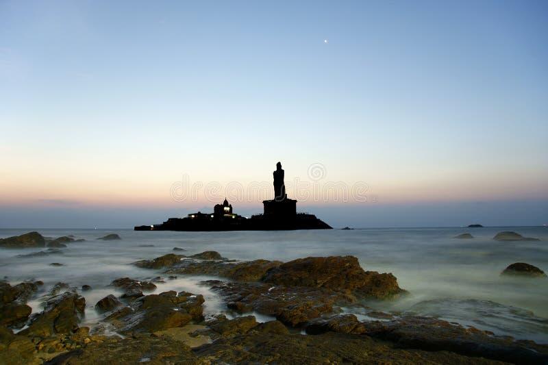 O ponto o mais southernmost de India Comorin ou Kanyakumari, Índia fotografia de stock