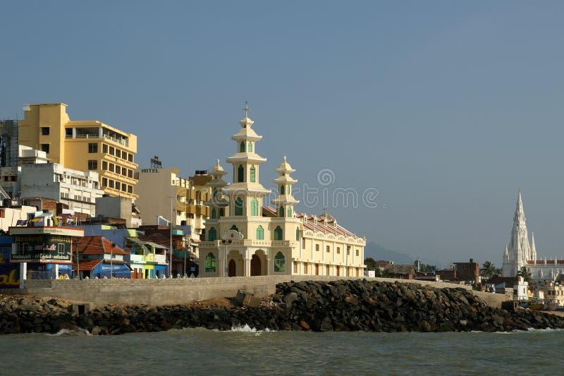 O ponto o mais southernmost de India Comorin ou Kanyakumari, Índia foto de stock
