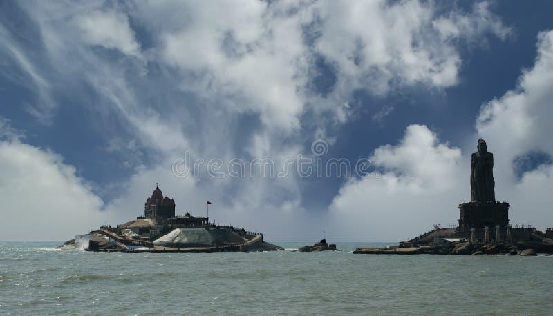O ponto o mais southernmost de India Comorin ou Kanyakumari, Índia imagens de stock royalty free