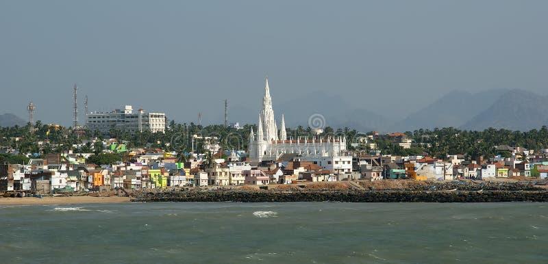 O ponto o mais southernmost de India Comorin ou Kanyakumari, Índia imagens de stock