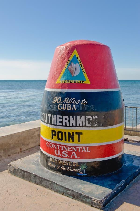 O ponto o mais southernmost, Key West fotos de stock