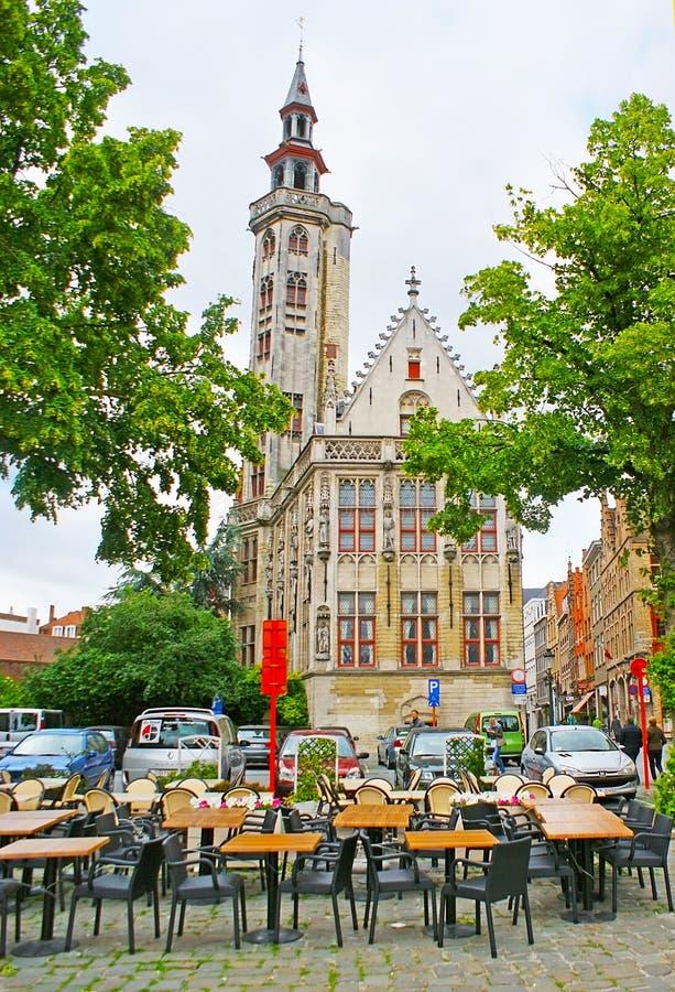 O Poortersloge em Bruges fotos de stock