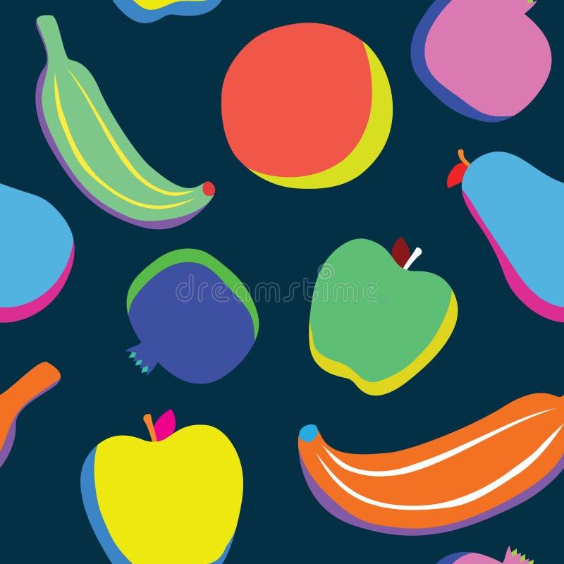 O pop art frutifica teste padrão ilustração royalty free