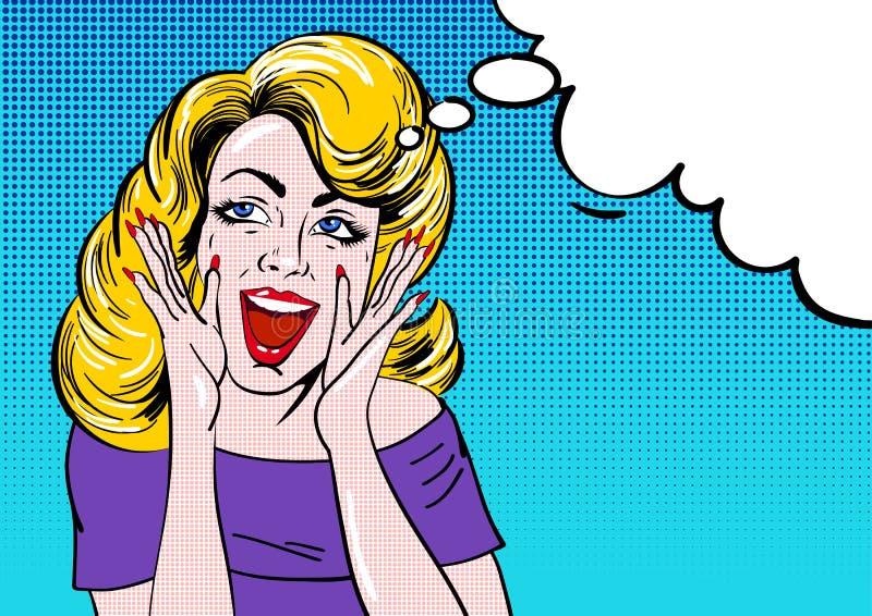 O pop art surpreendeu a cara loura da menina com boca aberta Mulher cômica do wow com ilustração do vetor do vintage da bolha do  ilustração do vetor