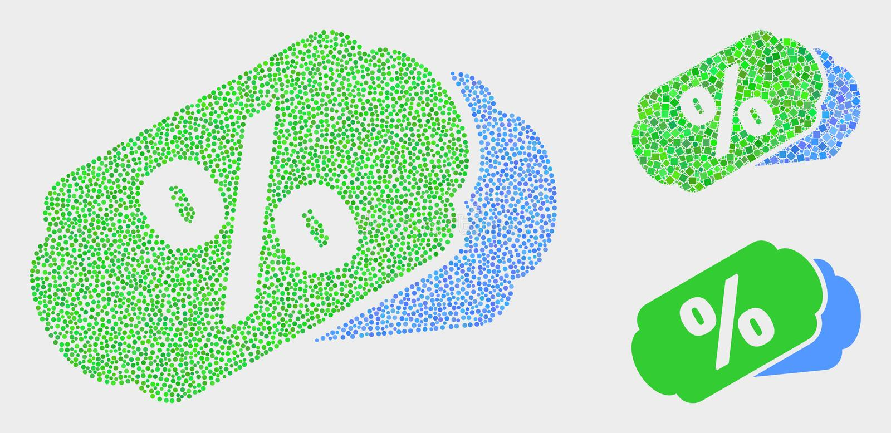 O por cento do vetor de Pixelated etiqueta ícones ilustração royalty free