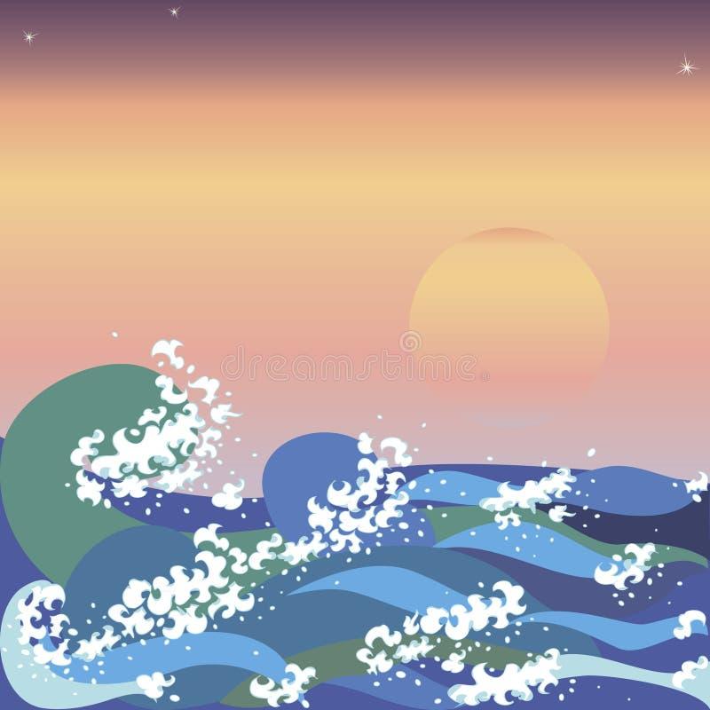 O por do sol & o mar acenam no estilo japonês ilustração do vetor