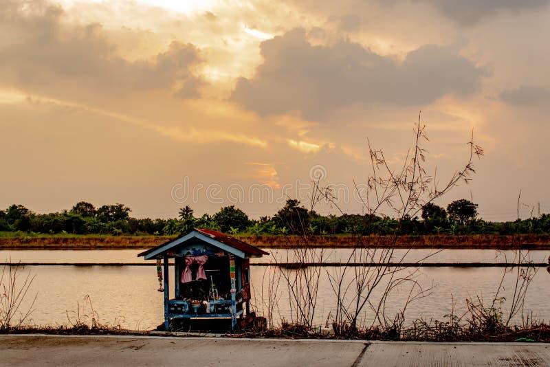 O por do sol atrás das reflexões das árvores na água imagens de stock