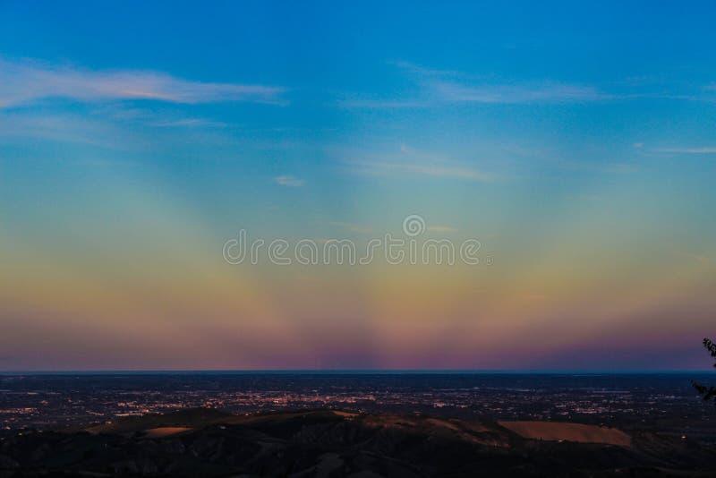 O por do sol colorido mim visto nunca foto de stock