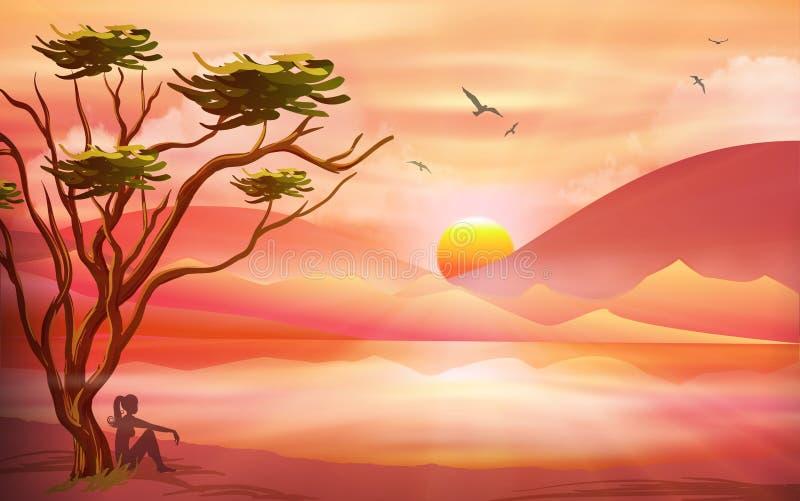 O por do sol cor-de-rosa alaranjado, relaxa na natureza, paisagem ilustração royalty free