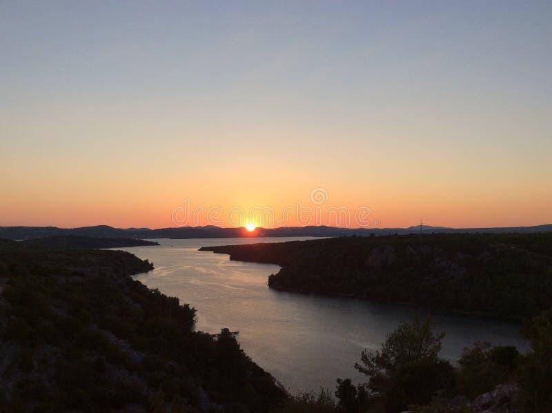 O por do sol da Croácia fotografia de stock royalty free