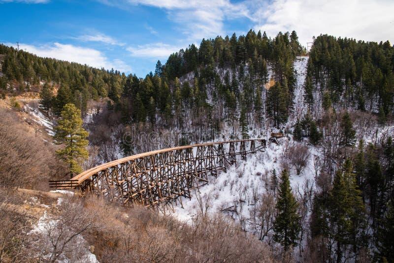 O por do sol, a imagem da paisagem das montanhas e uma trilha do trem em New mexico espanaram com neve fotos de stock royalty free