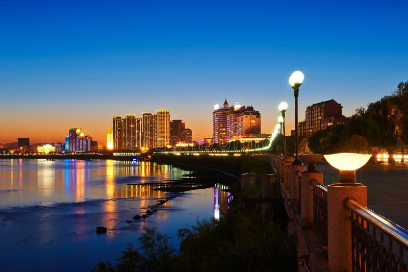 O por do sol Jilin de Songhua River imagem de stock royalty free