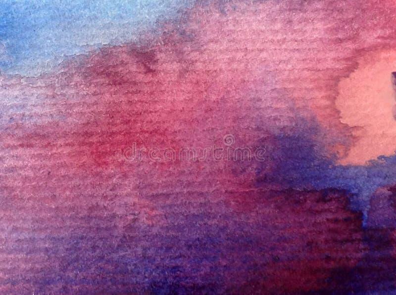O por do sol do nascer do sol do céu do sumário do fundo da arte da aquarela textured a fantasia borrada da lavagem molhada fotografia de stock royalty free