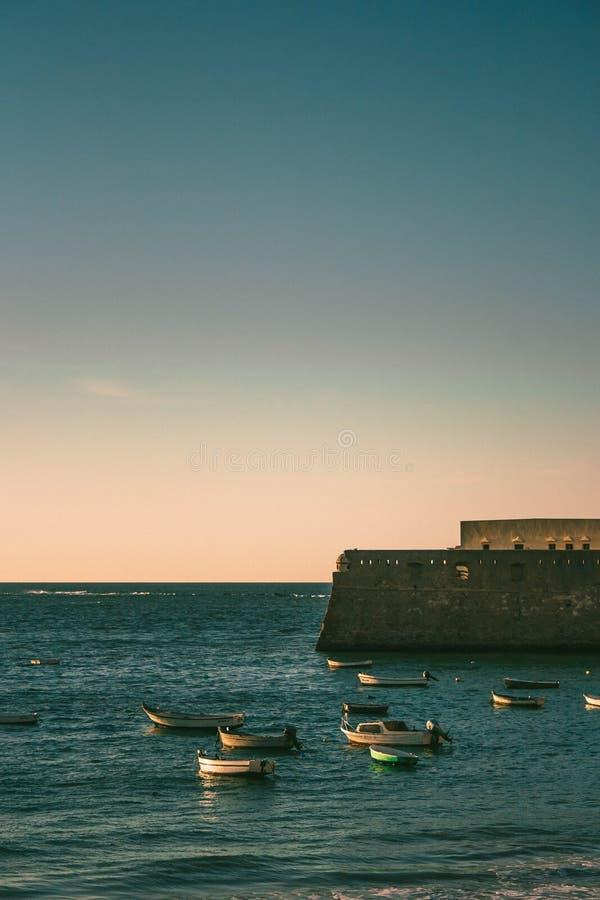 O por do sol no diz do ¡ de CÃ, Andalucia, Espanha fotografia de stock
