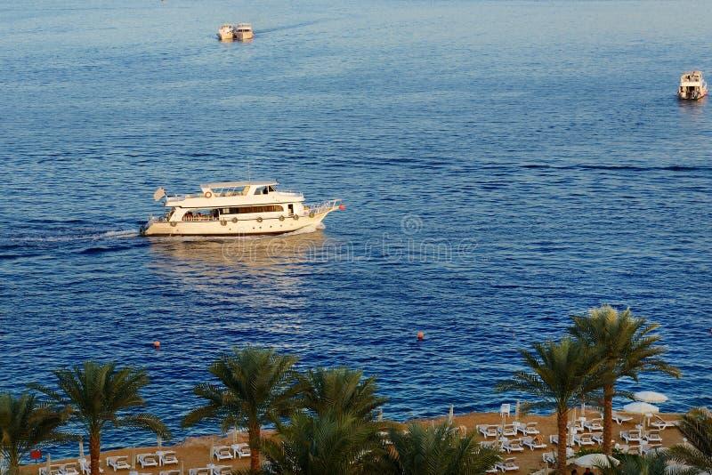 O por do sol no louro, no Mar Vermelho e no motor de Naama yachts fotografia de stock