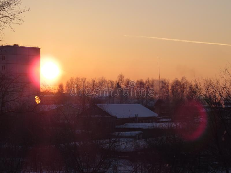 O por do sol Siberian 2 fotos de stock