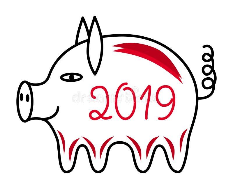 O porco é um símbolo de 2019 Ano do porco amarelo Horóscopo oriental Vetor ilustração stock