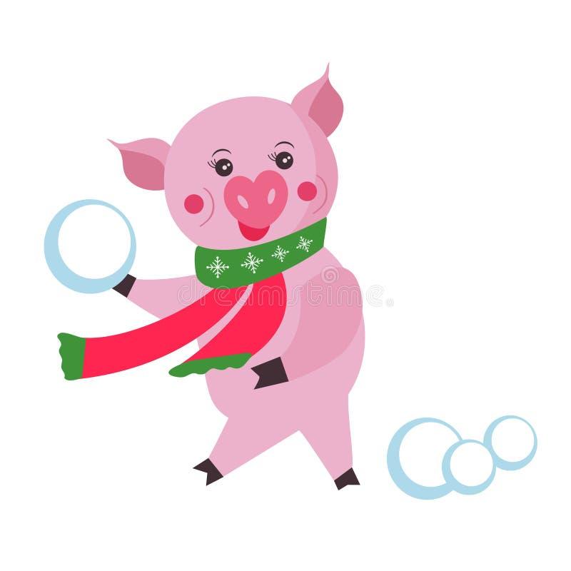 O porco bonito joga bolas de neve no fundo branco, símbolo no calendário chinês dos 2019 anos Ilustração do vetor Símbolo de 2019 ilustração royalty free