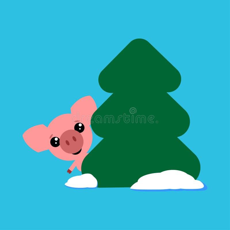 O porco bonito olha para fora atrás de uma árvore, caráter engraçado Símbolo do ano no calendário oriental Ilustração do vetor ilustração do vetor
