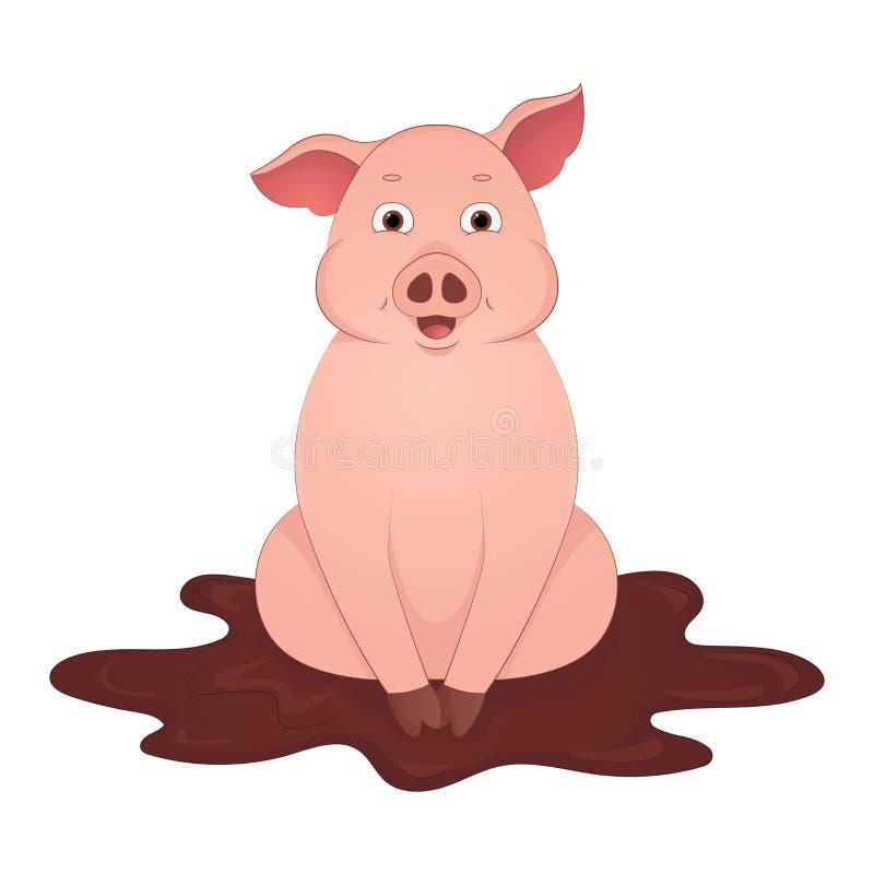 O porco bonito senta-se no símbolo dos desenhos animados da lama do ano 2019 imagem de stock royalty free