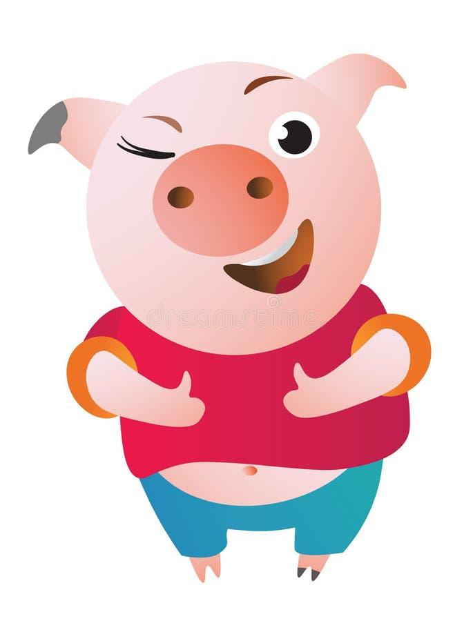 O porco dos desenhos animados aprova com polegar acima e pisc ilustração do vetor