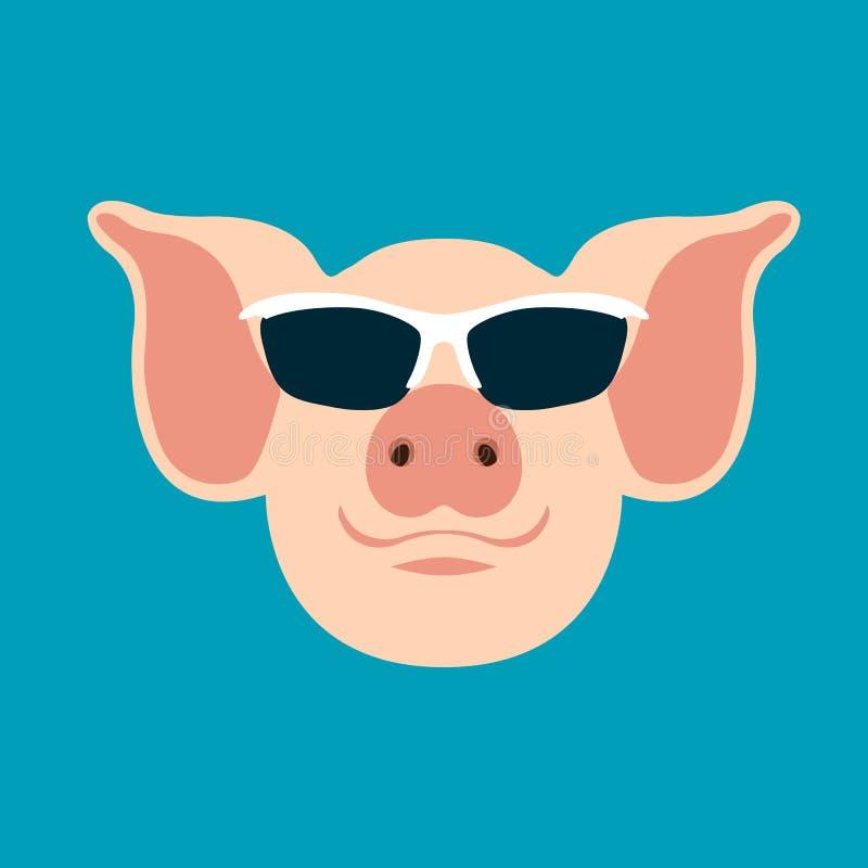 O porco nos vidros vector a parte dianteira lisa do estilo da ilustração ilustração stock
