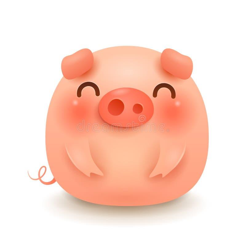 O porco pequeno bonito gordo ilustração royalty free
