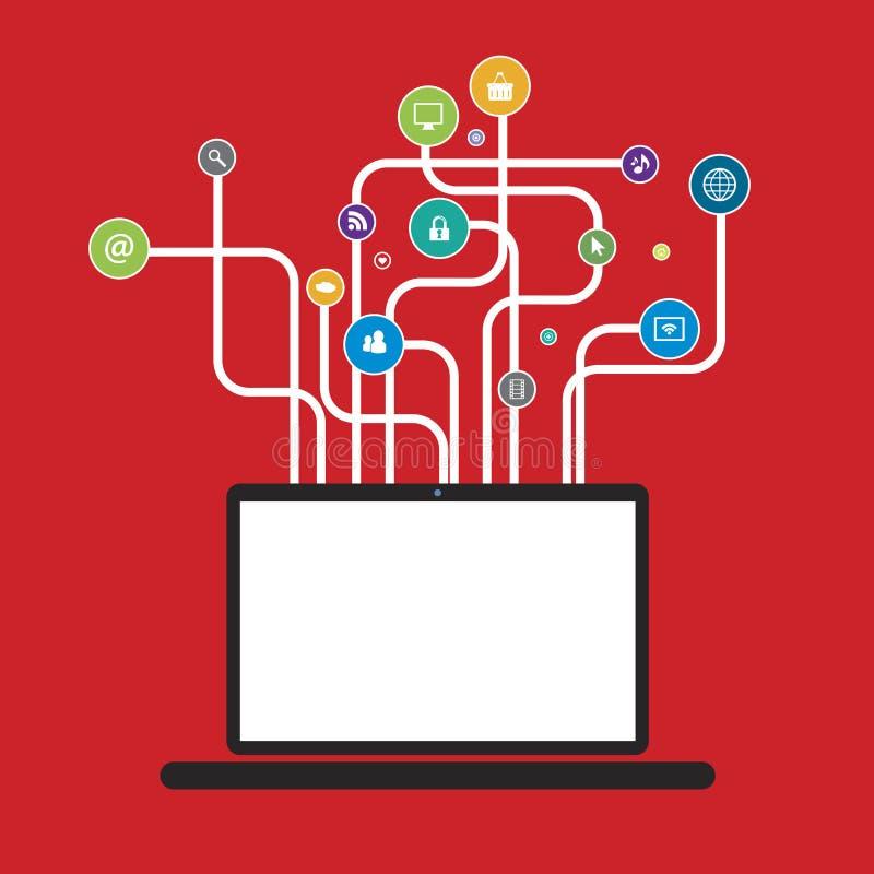O portátil com linhas deu forma a árvores com meios sociais dos ícones ilustração royalty free