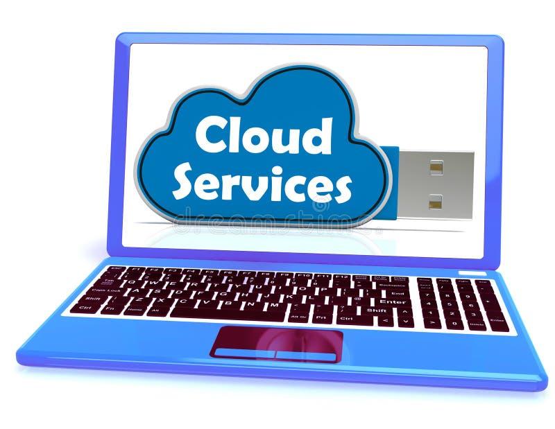 O portátil da vara da memória dos serviços da nuvem mostra o backup de arquivo do Internet ilustração do vetor