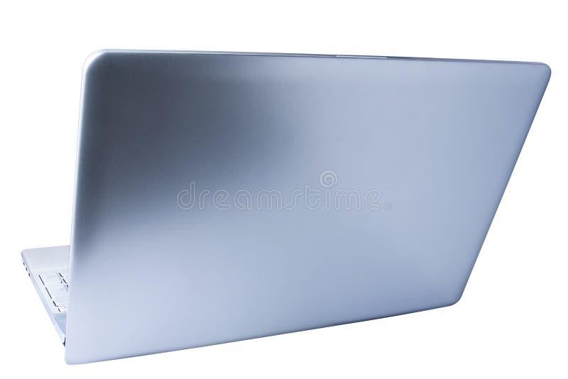 O portátil do computador aberto vê para trás três quartos isolado foto de stock royalty free