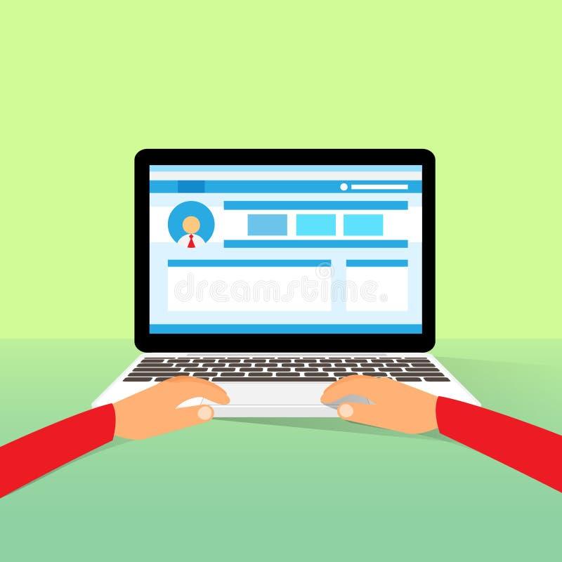 O portátil entrega o tipo que trabalha usando o plano do computador ilustração do vetor