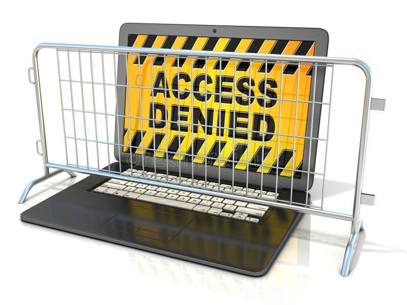 O portátil preto com ACESSO NEGOU o sinal na tela, e as barricadas de aço ilustração do vetor